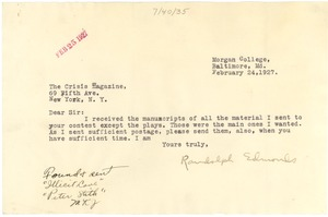 Thumbnail of Letter from Randolph Edmonds to The Crisis