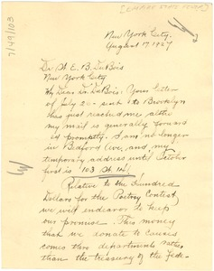 Thumbnail of Letter from the Empire State Federation of Women's Clubs to W. E. B. Du Bois