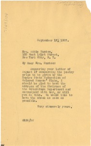 Thumbnail of Letter from W. E. B. Du Bois to Mrs. A. W. Hunton