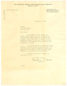 Thumbnail of Letter from Hampton Normal and Agricultural Institute to Crisis