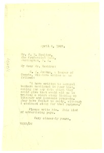 Thumbnail of Letter from W. E. B. Du Bois to J. R. Hawkins