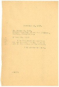 Thumbnail of Letter from W. E. B. Du Bois to Leslie P. Hill