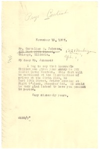 Thumbnail of Letter from W. E. B. Du Bois to Cornelius W. Johnson
