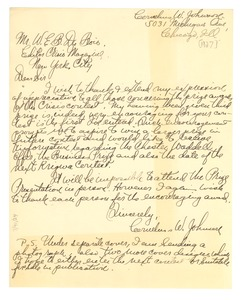 Thumbnail of Letter from Cornelius W. Johnson to W. E. B. Du Bois