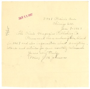 Thumbnail of Letter from J. M. Johnson to Crisis
