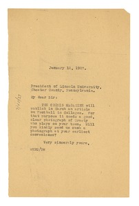 Thumbnail of Letter from W. E. B. Du Bois to Lincoln University