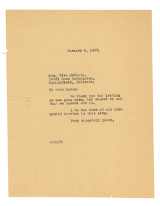 Letter from W. E. B. Du Bois to Vira McClain