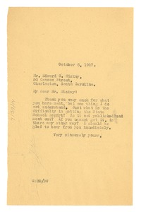 Thumbnail of Letter from W. E. B. Du Bois to Edward C. Mickey