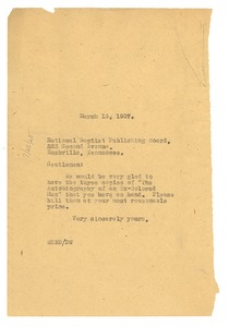 Thumbnail of Letter from W. E. B. Du Bois to National Baptist Publishing Board