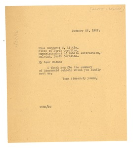 Thumbnail of Letter from W. E. B. Du Bois to North Carolina Superintendent of Public             Education
