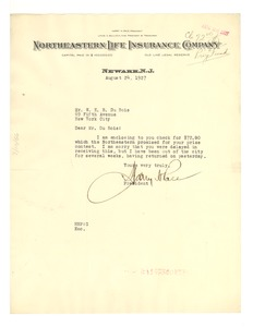 Thumbnail of Letter from Northeastern Life Insurance Company to W. E. B. Du Bois
