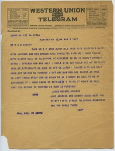 Thumbnail of Telegram from James Weldon Johnson to W. E. B. Du Bois