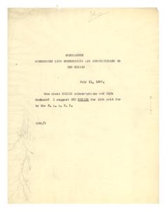 Memorandum concerning life memberships and subscriptions to the Crisis