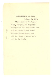 Thumbnail of Memorandum from W. E. B. Du Bois to A. G. Dill