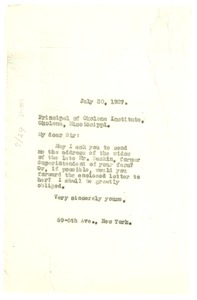 Thumbnail of Letter from W. E. B. Du Bois to Okolona Institute