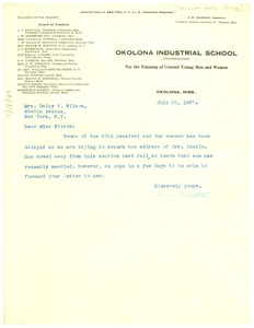 Thumbnail of Letter from Okolona Industrial School to Crisis