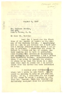 Thumbnail of Letter from W. E. B. Du Bois to Wallace Battle