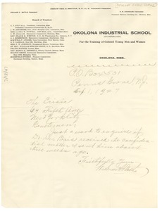 Thumbnail of Letter from Okolona Industrial School to The Crisis