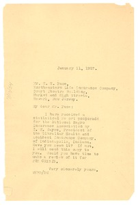 Thumbnail of Letter from W. E. B. Du Bois to Harry H. Pace