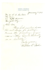 Thumbnail of Letter from William C. Paul to W. E. B. Du Bois