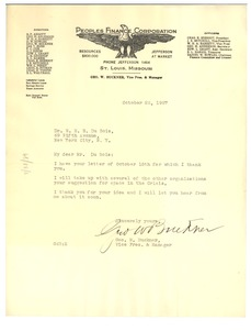 Thumbnail of Letter from Peoples Financial Corporation to W. E. B. Du Bois