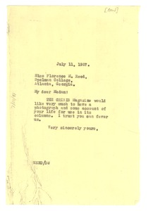 Thumbnail of Letter from W. E. B. Du Bois to Florence M. Read