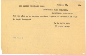 Thumbnail of Telegram from W. E. B. Du Bois to The Julius Rosenwald Fund