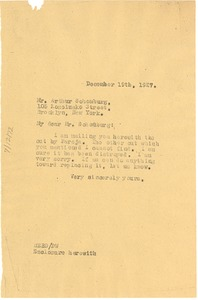 Thumbnail of Letter from W. E. B. Du Bois to A. A. Schomburg