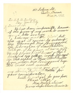Thumbnail of Letter from Mary J. Sims to W. E. B. Du Bois