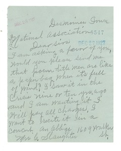 Thumbnail of Letter from Mrs. C. Slaughter to NAACP