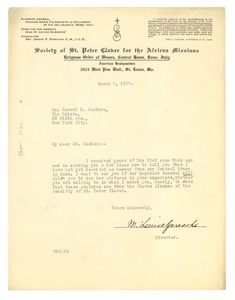 Thumbnail of Letter from the Society of St. Peter Claver for the African Missions to Marvel             K. Jackson