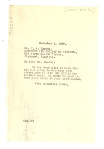 Thumbnail of Letter from W. E. B. Du Bois to the Southern Aid Society of Virginia, Inc.