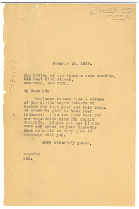 Letter from W. E. B. Du Bois to the editor of the Theatre Arts Monthly