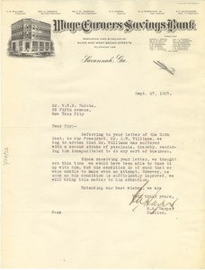Thumbnail of Letter from Wage Earners Savings Bank to W. E. B. Du Bois