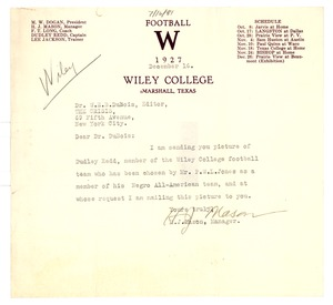 Thumbnail of Letter from Wiley College to W. E. B. Du Bois