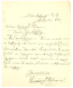 Thumbnail of Letter from Chauncey Withrow to Daisy Wilson