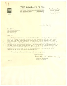 Thumbnail of Letter from The Womans Press to the editor of The Crisis