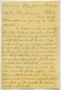Thumbnail of Letter from unidentified correspondent to Editor of the Crisis
