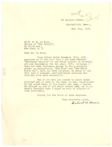 Thumbnail of Letter from Hubert A. Brown to W. E. B. Du Bois