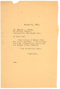 Thumbnail of Letter from Crisis to Hubert A. Brown