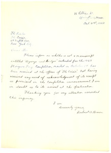 Thumbnail of Letter from Hubert A. Brown to Editor of the Crisis