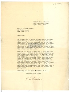 Thumbnail of Letter from H. L. Camba to Editor of the Crisis