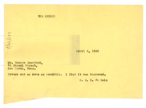 Thumbnail of Telegram from W. E. B. Du Bois to George W. Crawford