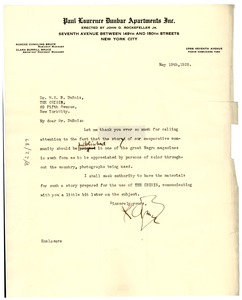 Thumbnail of Letter from Dunbar Apartments to W. E. B. Du Bois