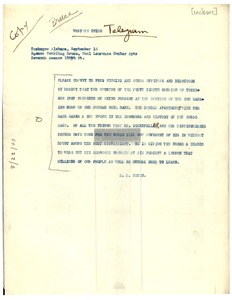 Thumbnail of Telegram from R. R. Moton to Roscoe Conkling Bruce