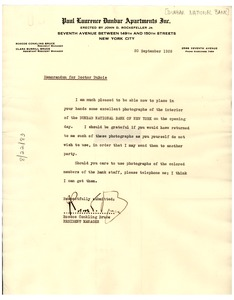 Thumbnail of Memorandum from Dunbar National Bank to W. E. B. Du Bois