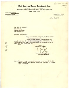 Thumbnail of Letter from Dunbar National Bank to W. E. B. Du Bois