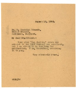 Thumbnail of Letter from W. E. B. Du Bois to S. Randolph Edmonds
