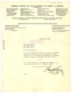 Thumbnail of Letter from Federal Council of the Churches of Christ in America to W. E. B. Du Bois