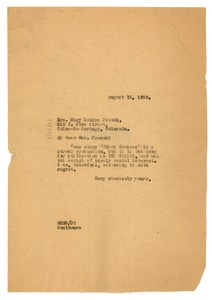 Thumbnail of Letter from W. E. B. Du Bois to Mary Louise French